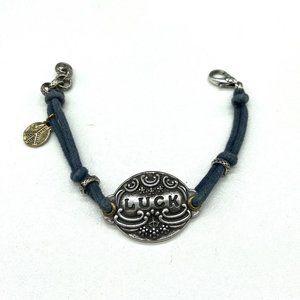 Lucky Brand Blue Cord Silver LUCKY ID Bracelet